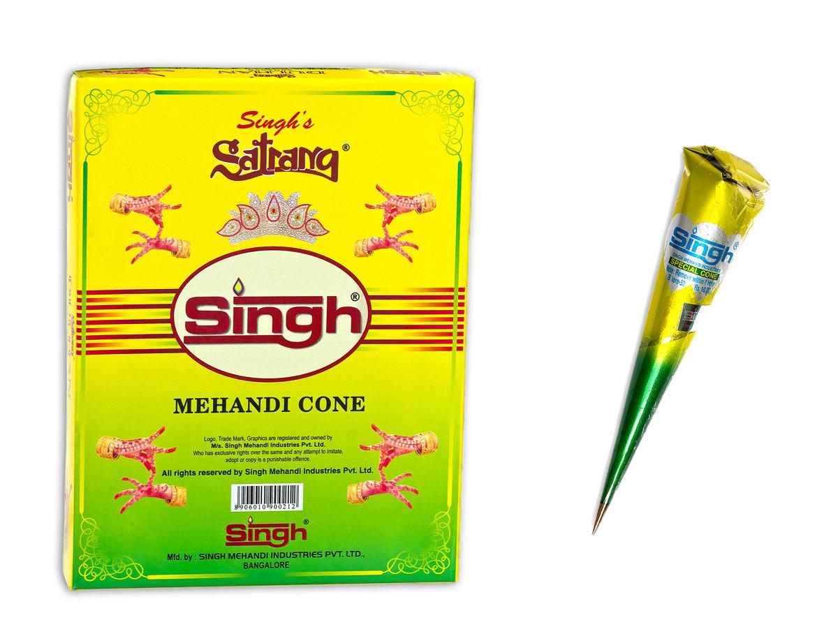 Готовая хна для мехенди в конусах Singh (Сингх)
